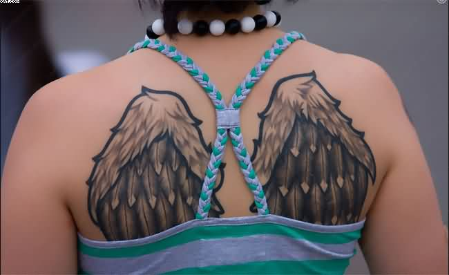Nice Angel Wings Tattoos On Upper Back