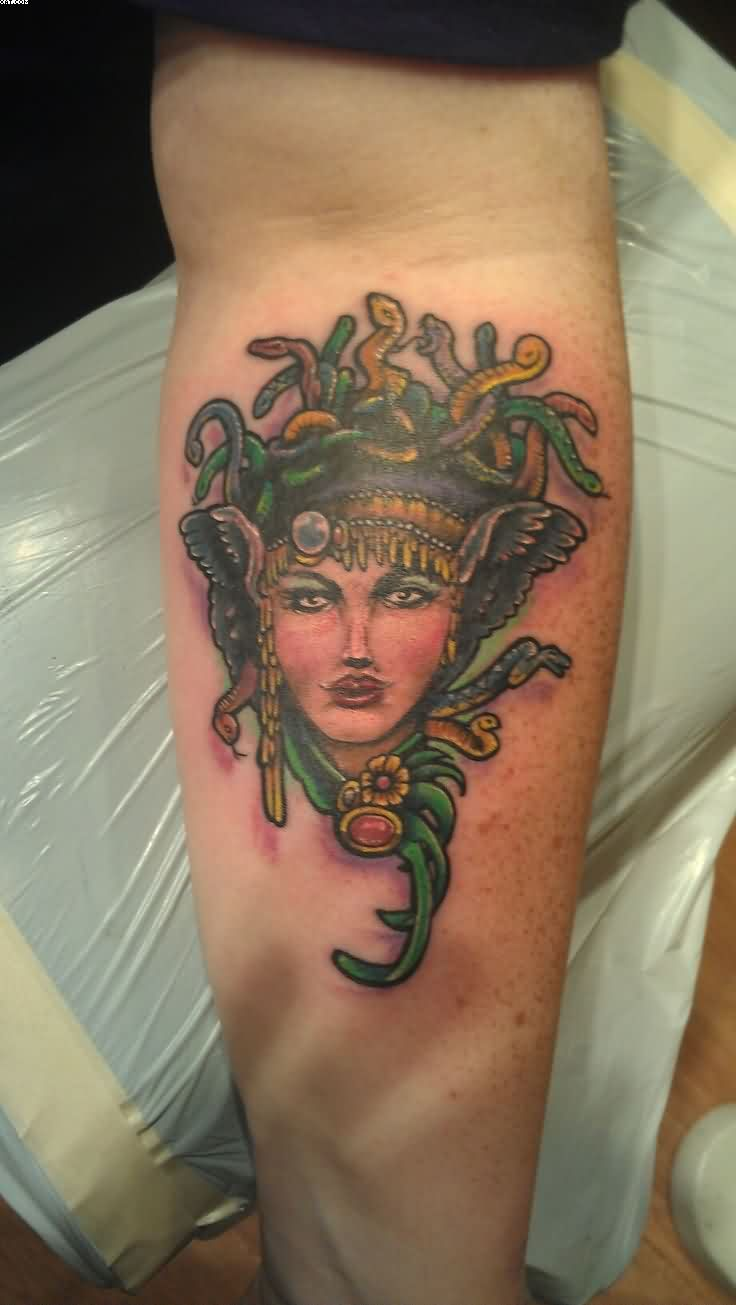 Nice Medusa Tattoo On Forearm