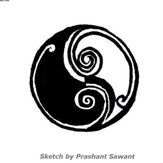 Nice Ying Yang Tattoo Sketch