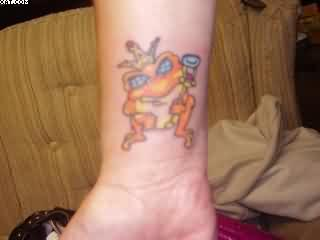 Orange Frog Tattoo On Wrist