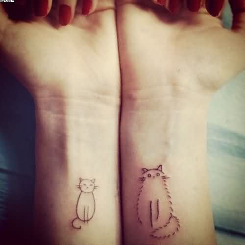 Outline Cats Wrist Tattoos