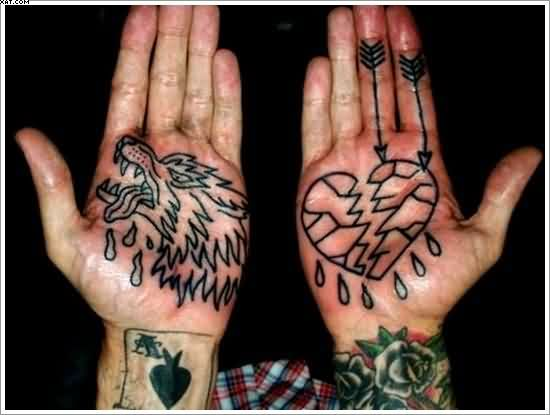 Outline Wolf And Broken Heart Tattoos