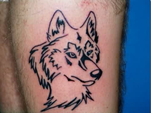 Outline Wolf Head Tattoo