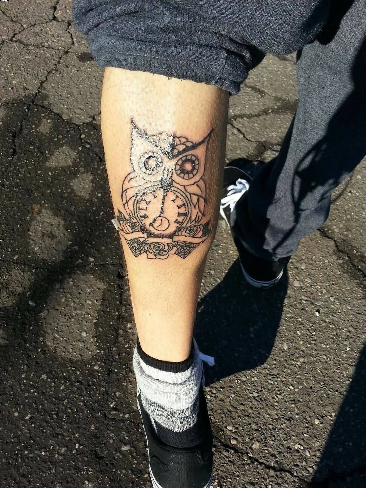 Owl Clock Leg Tattoo
