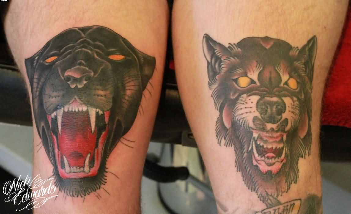 Panther And Wolf Head Tattoos On Knee