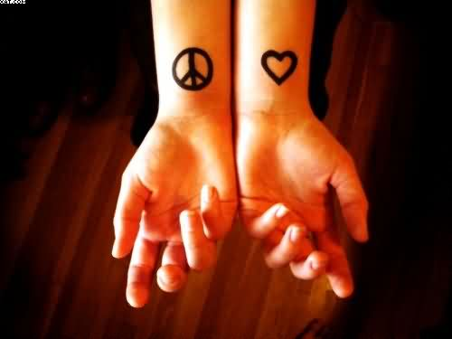 Peace And Love Symbols Tattoos On Wrist