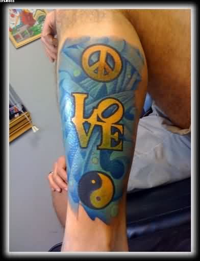 Peace Love Yin Yang Tattoo On Leg