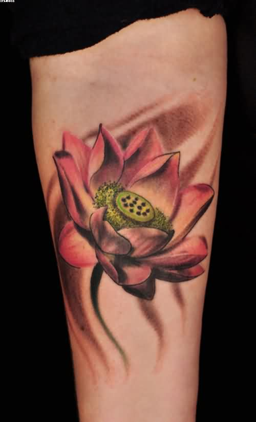 Perfect Lotus Tattoo On Forearm