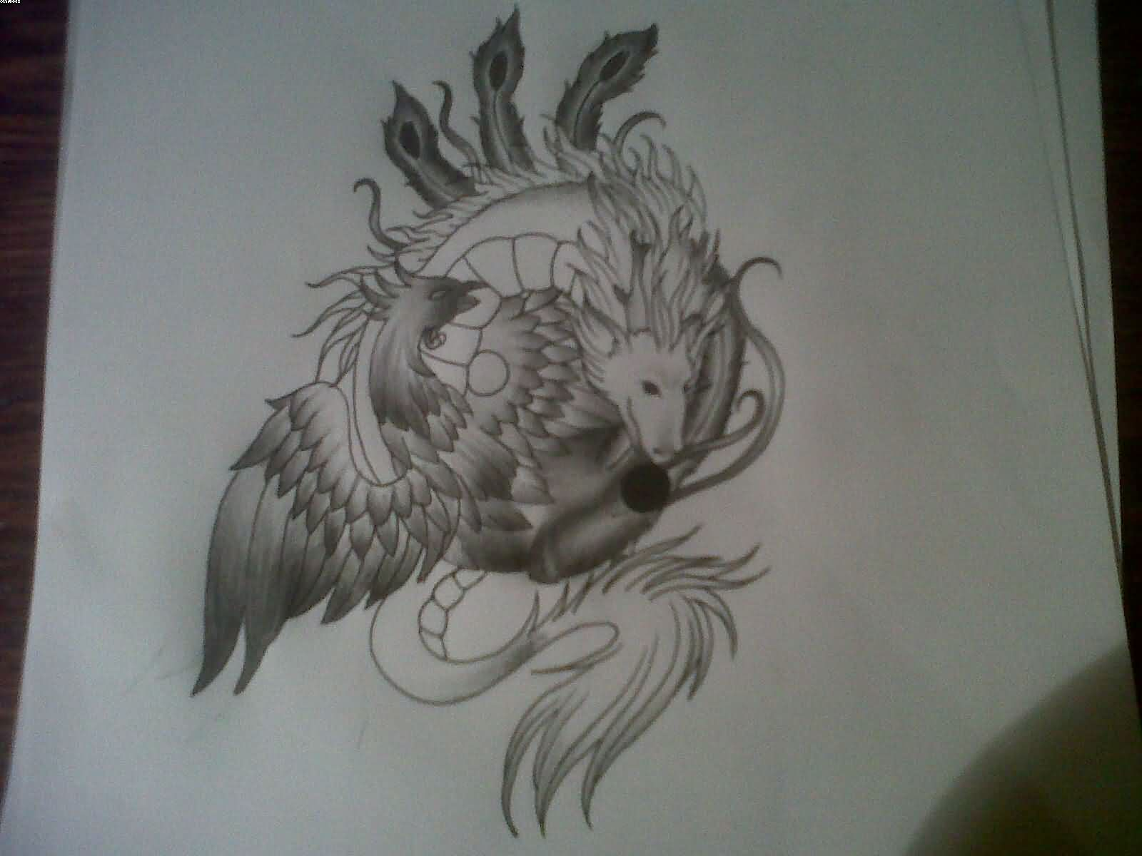 Phoenix Dragon Ying Yang Tattoo Sketch