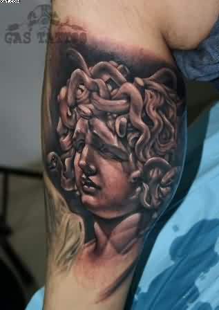 Realism Medusa Tattoo On Leg