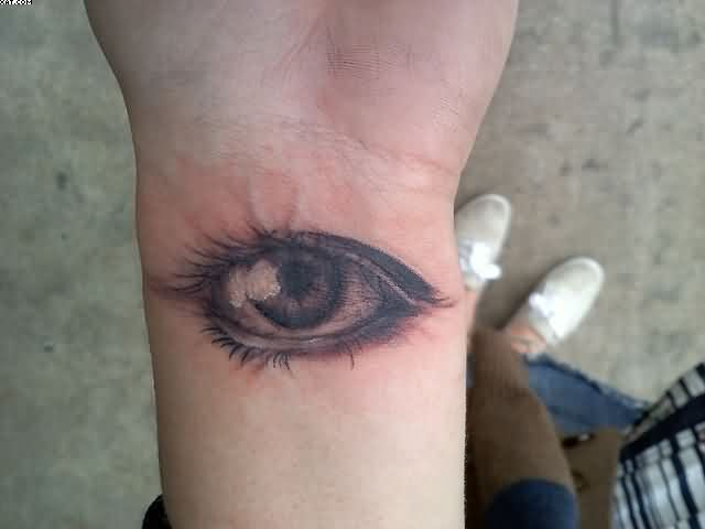 Realistic Eye Wrist Tattoo