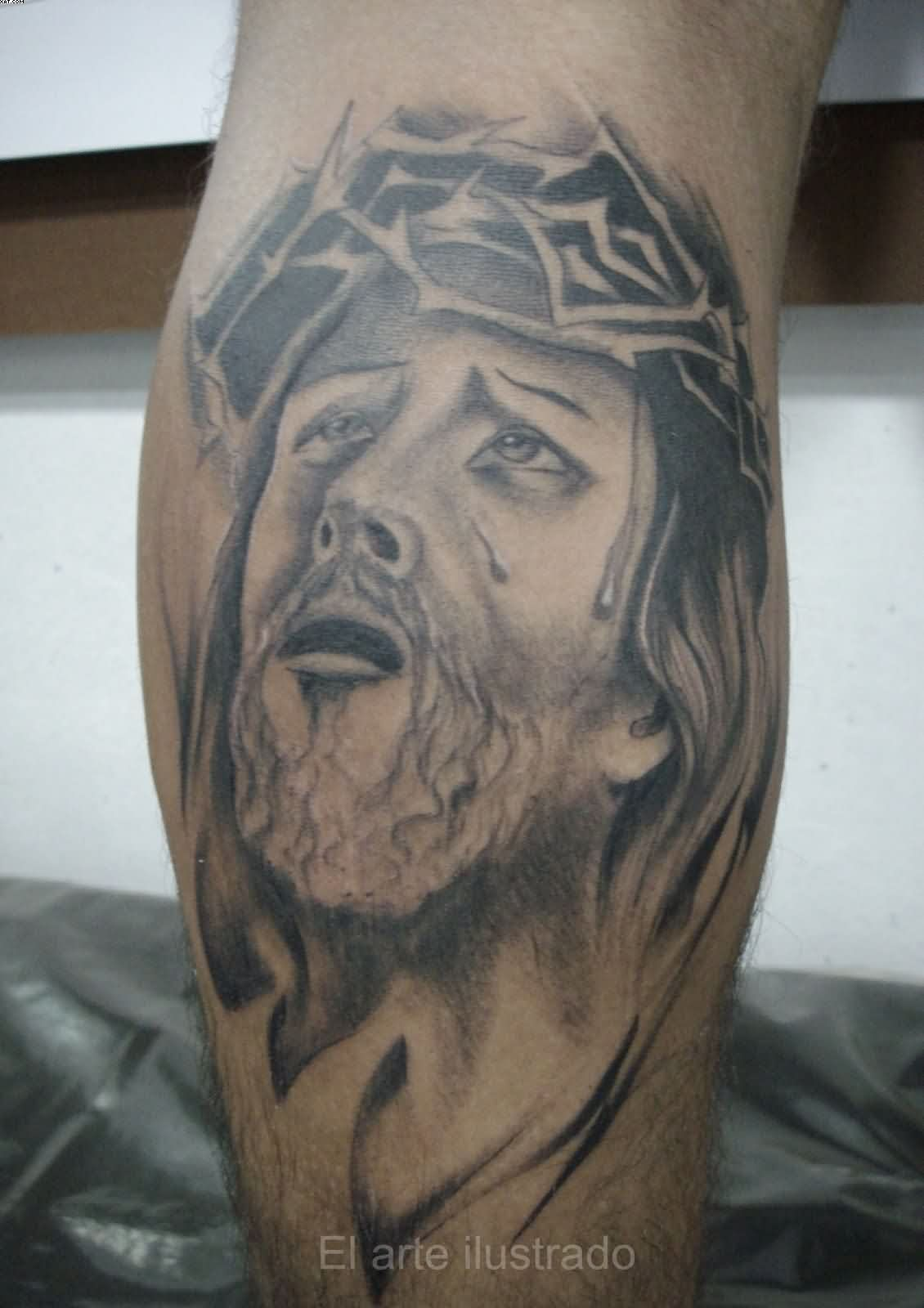 Realistic Jesus Head Tattoo On Leg