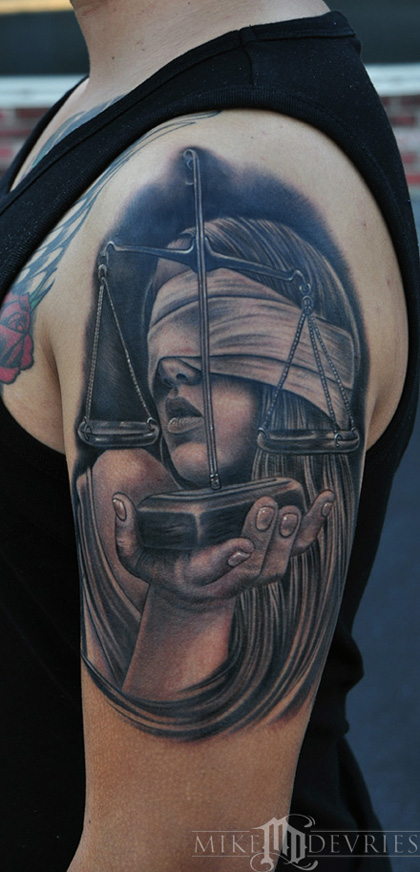 Realistic Lady Justice Tattoo On Biceps
