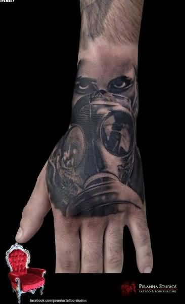 Realistic Mask Tattoo On Hand
