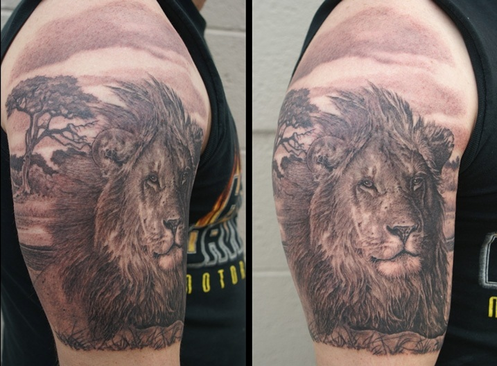 Realistic Wold Lion Tattoos On Half Sleeve