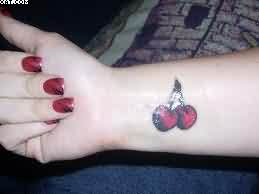 Red Cherries Tattoos Near Wrist