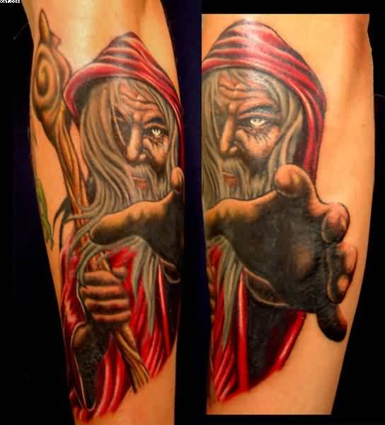 Red Dressed Wizard Tattoo Images