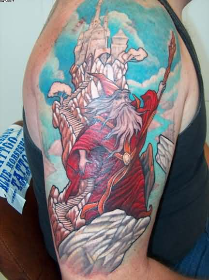 Red Dressed Wizard Tattoo On Biceps