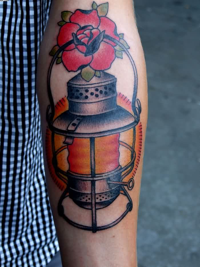 Red Flower And Lamp Tattoo On Arm