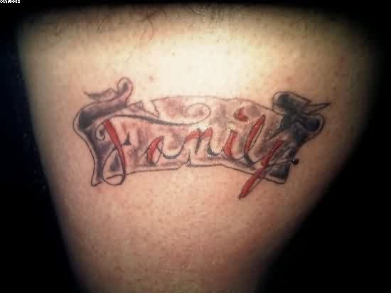 Red Ink Family Word Tattoo