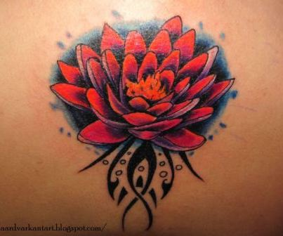 Red Ink Lotus Flower Tattoo