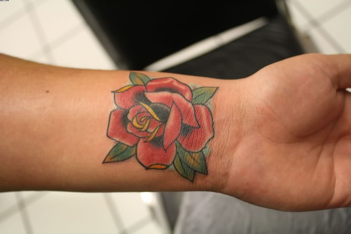 Red Rose Flower Bud Tattoo On Wrist