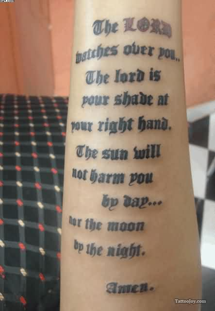 Religious Lettering Tattoo On Arm