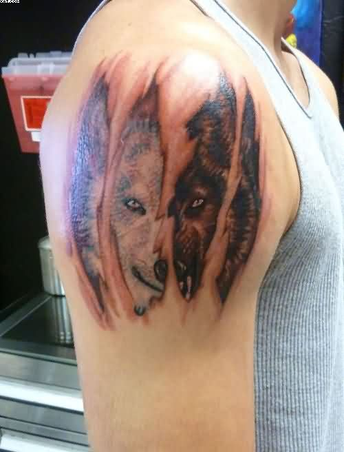 Ripped Skin Wolf Tattoo On Shoulder