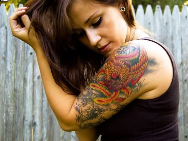 Rise Phoenix Sleeve Tattoos For Women