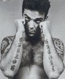 Robbie Williams Words Tattoos On Arms