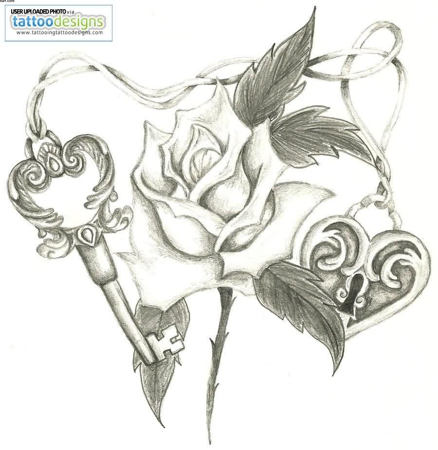 Rose Heart Lock And Key Tattoo Sketch
