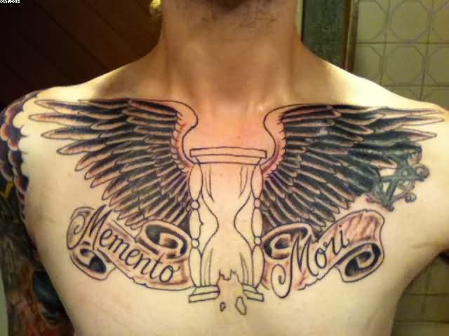 Sandclock And Wings Chest Piece Tattoo