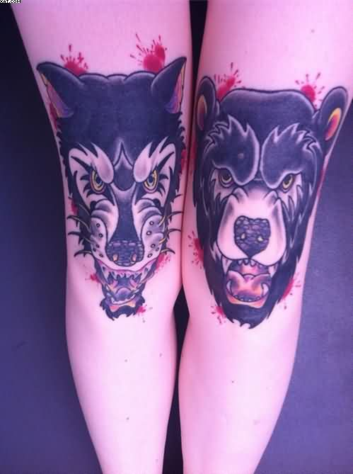 Scary Wolf Bear Tattoos On Knee
