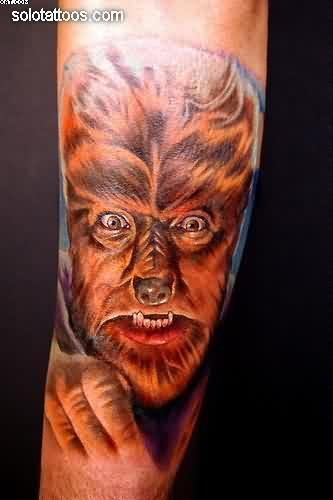 Scary Wolfman Tattoo On Arm