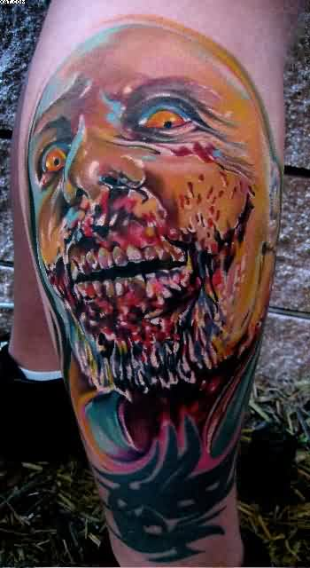 Scary Zombie Tattoo On Leg