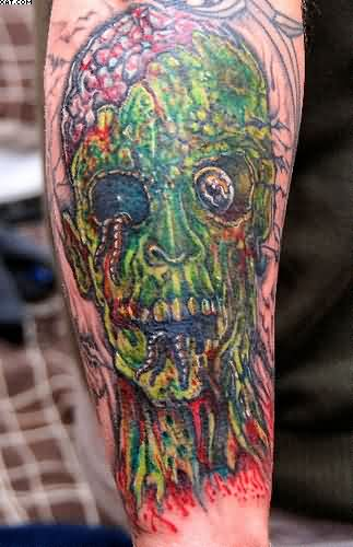 Scary Zombie Tattoo On The Arm