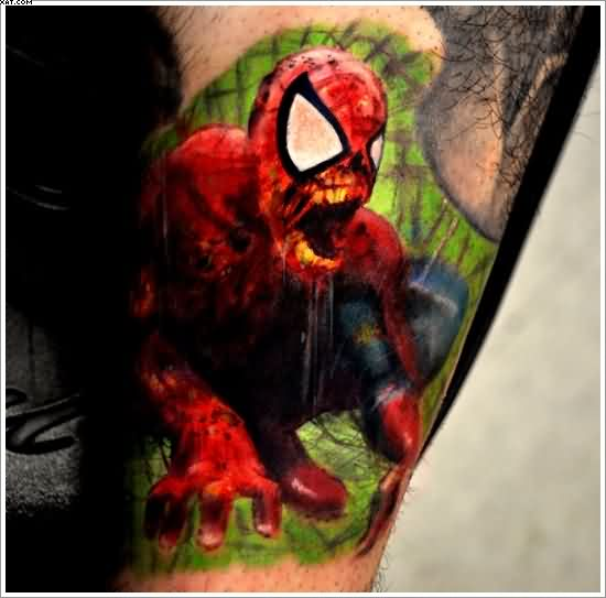 Screaming Zombie Spider Man Tattoo