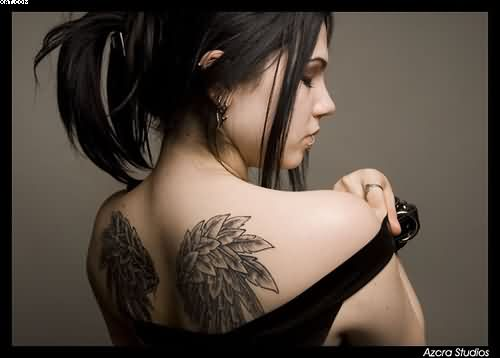 Sexy Angel Wings Tattoo For Girls On Upper Back
