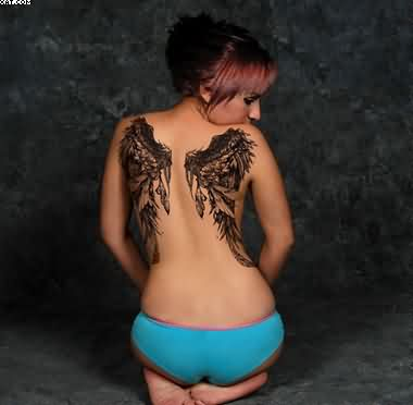 Sexy Angel Wings Tattoo On Girl's Back Body