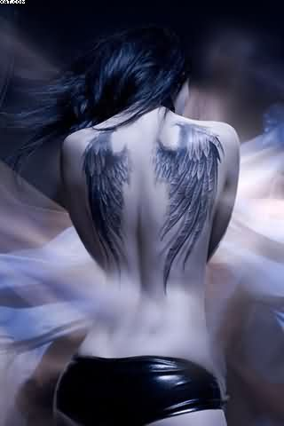 Sexy Angel Wings Tattoos For Girl's Back