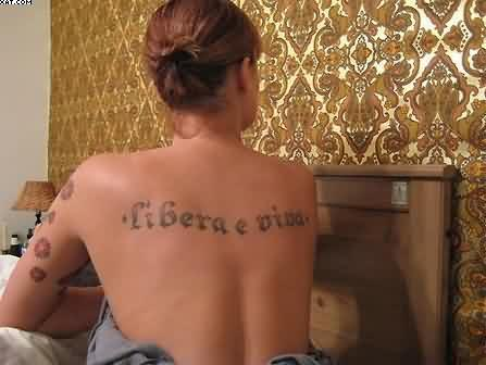 Sexy Word Tattoo On Back For Women