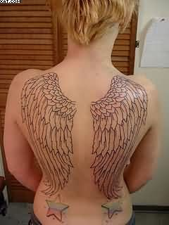 Simple Angel Wing Tattoos With Stars On Back