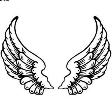 Simple Angel Wings Tattoo Stencil
