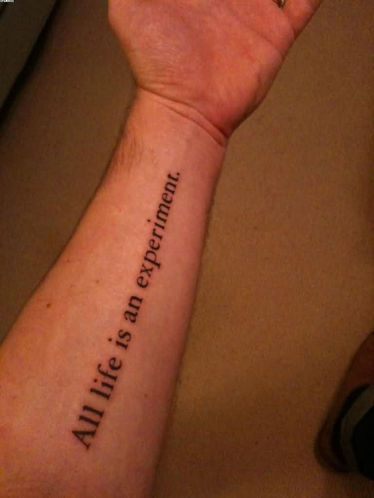 Simplistic Lettering Tattoo On Forearm