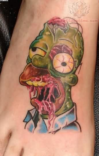 Simpson Zombie Tattoo On Foot