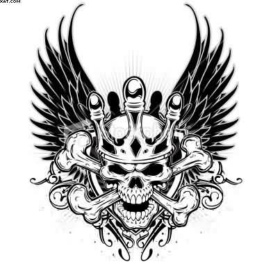 Skull With Crown And Wings Tattoo Design
