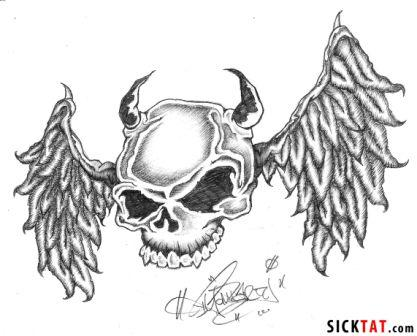 Skull With Wings Tattoo Sample