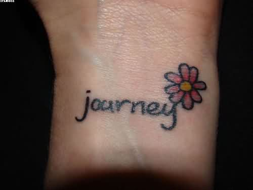 Small Journey Word Tattoo With Flower