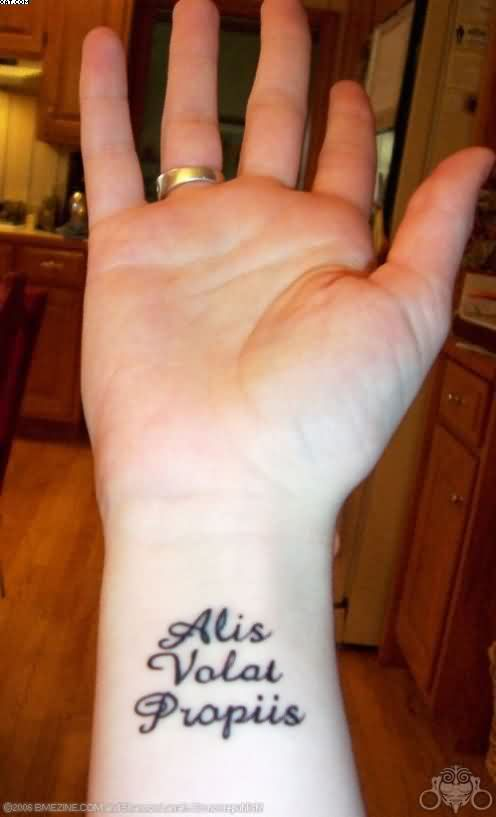 Small Latin Words Tattoos On Wrist