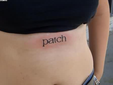 Small Patch Word Tattoo For Girls
